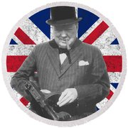 Winston Churchill And Flag Round Beach Towel