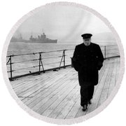 Winston Churchill At Sea Round Beach Towel by War Is Hell Store