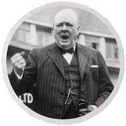 Winston Churchill Campaigning - 1945 Round Beach Towel
