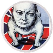 Winston Churchill Holding The Line Round Beach Towel