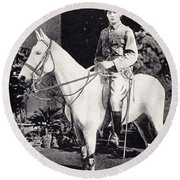 Winston Churchill On Horseback In Bangalore, India In 1897 Round Beach Towel