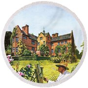 Winston Churchill Painting At Chartwell Round Beach Towel