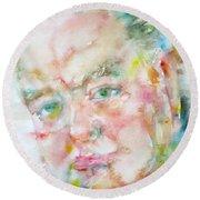 Winston Churchill - Watercolor Portrait.4 Round Beach Towel
