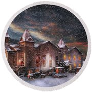 Winter - Clinton Nj - Silent Night  Round Beach Towel