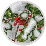 Winter - Ice Coated Holly Round Beach Towel