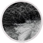 Winter Abstract Black And White Round Beach Towel