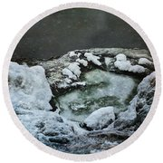 Winter Abstract Round Beach Towel