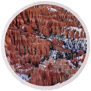 Winter Afternoon At Inspiration Point Bryce Canyon National Park  Utah Round Beach Towel
