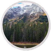 Winter And Fall Mix Round Beach Towel
