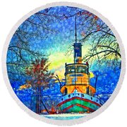 Winter And The Tug Boat 2 Round Beach Towel