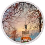 Winter And The Tug Boat Round Beach Towel