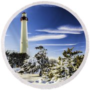Winter At Cape May Light Round Beach Towel
