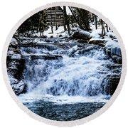Winter At Mill Creek Falls No. 1 Round Beach Towel