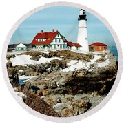 Winter At Portland Head Round Beach Towel by Greg Fortier