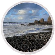 Winter At Sandymouth Round Beach Towel