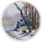 Winter At The Baltic Sea  Round Beach Towel