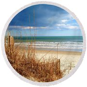 Winter At The Beach Is Still Beautiful Round Beach Towel