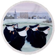 Winter At The Convent Round Beach Towel