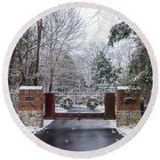 Winter At The Gate Round Beach Towel