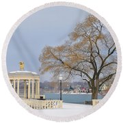 Winter At The Waterworks Round Beach Towel