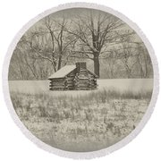 Winter At Valley Forge Round Beach Towel