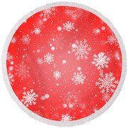 Winter Background With Snowflakes. Round Beach Towel
