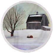Winter Barn II Round Beach Towel