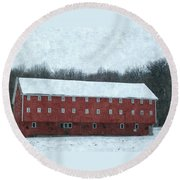 Winter Barn In Oil Round Beach Towel