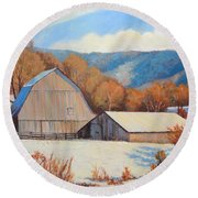 Winter Barns Round Beach Towel
