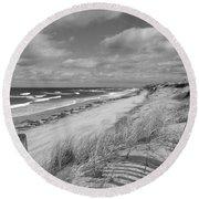 Winter Beach View - Black And White Round Beach Towel