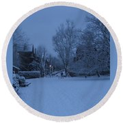 Winter Blue Britain Round Beach Towel