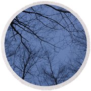 Winter Blue Sky Round Beach Towel