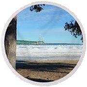 Winter Bridge Round Beach Towel