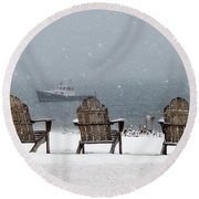 Winter By The Sea Round Beach Towel