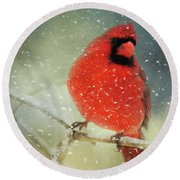 Winter Card Round Beach Towel