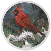 Winter Cardinal Round Beach Towel by Nadine Rippelmeyer