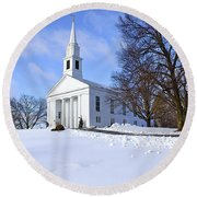 Winter Church Round Beach Towel