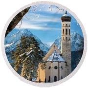 Winter Church In Bavaria Round Beach Towel