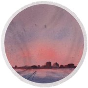 Winter City Round Beach Towel