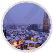 Winter Cityscape Of Utrecht In The Evening 14 Round Beach Towel