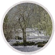 Winter Colors On The Klawock Round Beach Towel