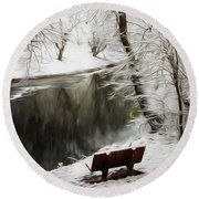 Winter Contemplation Watercolor Painting Round Beach Towel