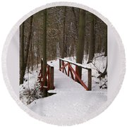 Winter Crossing Round Beach Towel