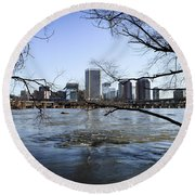 Winter Day At Belle Isle Round Beach Towel