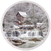 Winter Day At The Mill  Round Beach Towel