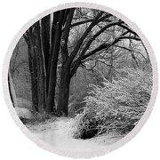 Winter Day - Black And White Round Beach Towel