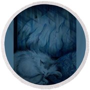 Winter Day Napping Round Beach Towel