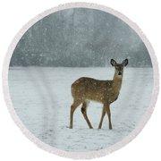 Winter Deer Walk Round Beach Towel