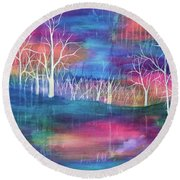 Winter Embraces Spring Round Beach Towel