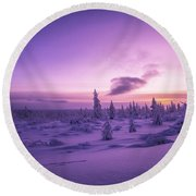 Winter Evening Landscape With Forest, Sunset And Cloudy Sky.  Round Beach Towel